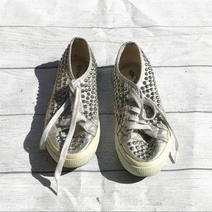 Superga 2750 silver studded sneakers